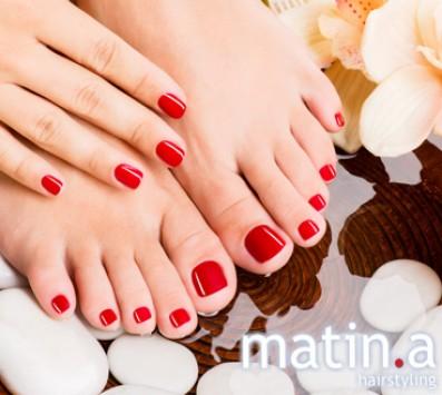 Ημιμόνιμο Manicure+Pedicure - Πατήσια - 21€ από 42€ (Έκπτωση 50%) για ένα Ημιμόνιμο Manicure με απλή βαφή, ένα Pedicure με απλή βαφή και μία Αποτρίχωση Άνω & Κάτω Χείλους ή έναν Καθαρισμό-Σχηματισμό Φρυδιών! Με προϊόντα Essie, για μια ολοκληρωμένη περιποίηση των άκρων σας! Από τo μοντέρνo κομμωτήριο «Matin.a Hairstyling» στα Πατήσια!!! εικόνα